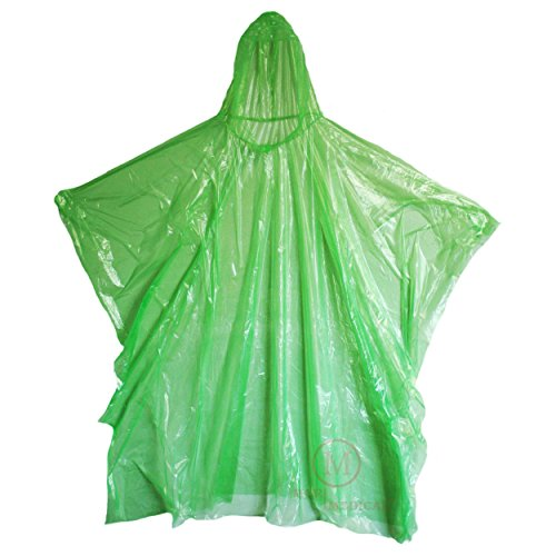 MCR Medical Disposable Rain Ponchos with Hood, Green (Pack of 10)