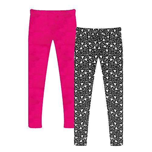 Popular Girl's Solid and Print Active Leggings - 2 Pack - Hearts and Solid Hot Pink - 8/10 -