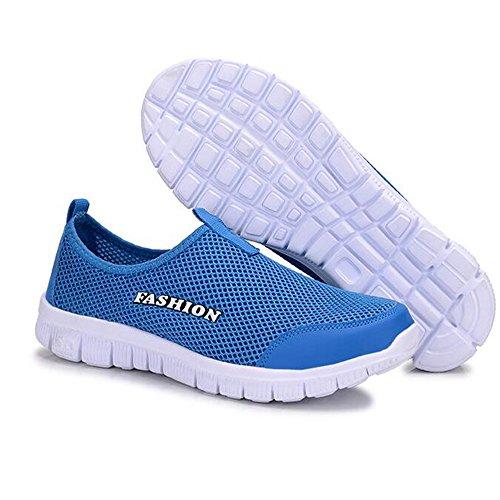 Heren Ademend Gaas Slip Op Loafers Outdoor Sport Loopschoenen Wandelen Sneakers Blauw
