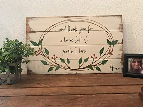 (WoodenSign Thank you a house full people I love handpainted sign farmhouse style the home home decor farmhouse sign housewarming gift)