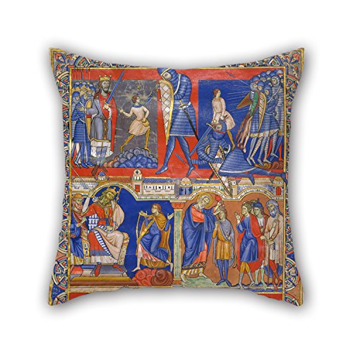 16 x 16 inches / 40 by 40 cm oil painting Master of the Morgan Leaf - Scenes from the Life of David cushion covers,double sides is fit for festival,car,family,bar seat,kids girls,couch (Car Seat Cover Frogs With Leaves compare prices)