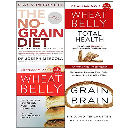 Wheat belly total health, wheat belly, no-grain diet, grain brain 4 books collection set