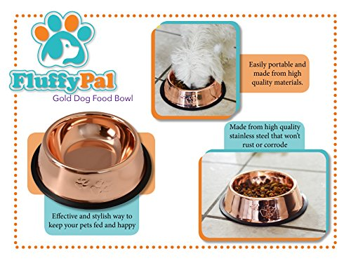 FluffyPal-Bronze-Non-Skid-Pet-Food-Bowl-Capacity-17-oz-Bowl-For-Cats-Dogs-More-Effective-And-Stylish-Ways-To-Keep-Your-Pets-Fed-And-Happy-Stainless-Steel-Non-Rust-Dishwasher-Safe-Feeder