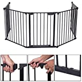 Baby Safety Fence Hearth Gate BBQ Metal Fire Gate Fireplace Pet...