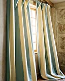 Hampton Ivory & Blue poly taffeta panel/drape/curtain (52″W X 108″L) For Sale