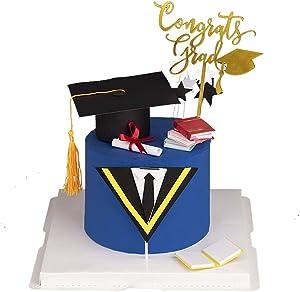 Graduation Party Supplies Cake Toppers Decorations Kit, DIY Congrates Bachelor Hat Cake Decor, Grad Theme Cake Decorations, Bake Dessert Favors for Graduate 2021 Gifts Party Supplies