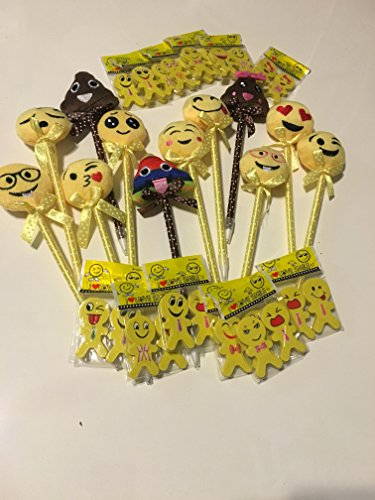 Emoji Pens With Matching Erasers - 36 Items (12 Pens and 24 Erasers) Party Favors, School (Halloween Party Games For Elementary School)