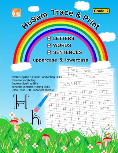 HuSam Trace and Print : LETTERS , WORDS , SENTENCES  ( uppercase and lowercase ) ( Grade 2 ) ( handwriting tracing printing alphabet practice workbook ) (Tracing Letters Lowercase)