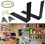 OVOV 2 Pack Iron Steel Shelf Bracket Heavy Duty Thicken L Floating Countertop Support Bracket for Wall Hanging Decorative with Free Hook Hanger