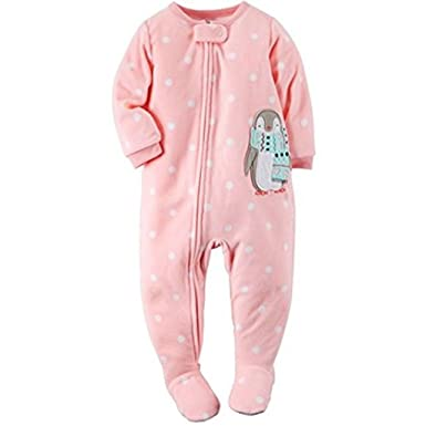 78f56a76e Amazon.com  CARTER S Baby Girl s 5T Pink Polka Dot Penguin Fleece ...