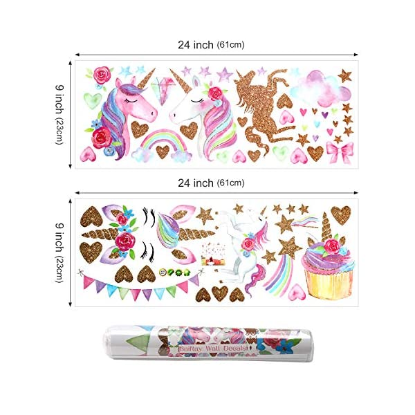 Unicorn Wall Decal,66pcs Unicorn Wall Decor Stickers Decals for Kids Rooms Gifts for Girls Boys Bedroom Nursery Home Party Favors 8