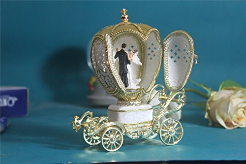 Luxury Wedding Gift Music Box Easter Egg Artists Musicbox Couple Dance Eggshell Art by Biscount