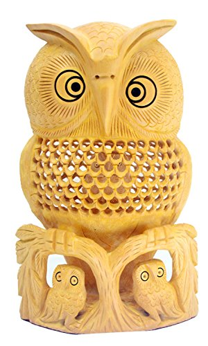 rine - 8 Inch Large Handmade Wood Carved Mother Owl with Two Baby Owls - Antique Owl Statue-Sculpture for Modern Home-Office Decorations Table Top Centerpiece Shelf Decor ()
