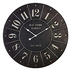 RAZ Imports Old Town Clocks Industrial Black Iron Embossed Wall Clock - 32-1/2-in 3927915