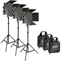 Neewer 3 Pieces Bi-color 660 LED Video Light and Stand Kit Includes: 3200-5600K CRI 96+ Dimmable Light with U Bracket and Barndoor and 75 inches Light Stand for Studio Photography, Video Shooting