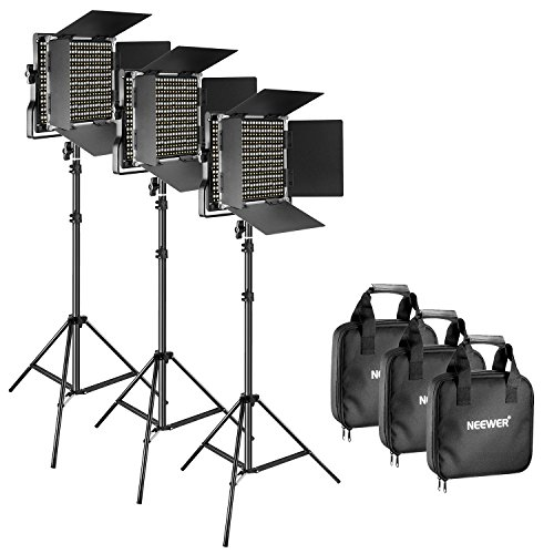 Neewer 3 Pieces Bi-color 660 LED Video Light and Stand Kit Includes: 3200-5600K CRI 96+ Dimmable Light with U Bracket and Barndoor and 75 inches Light Stand for Studio Photography, Video Shooting by Neewer