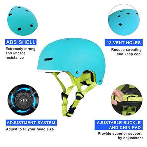XJD Toddler Helmet Kids Bike Helmet CPSC Certified Adjustable Bicycle Helmet Kids Helmet Safety Helmet Skateboard Longboard Roller Skate Inline Skating Scooter 3-13 Years Old Helmet (Blue, S)