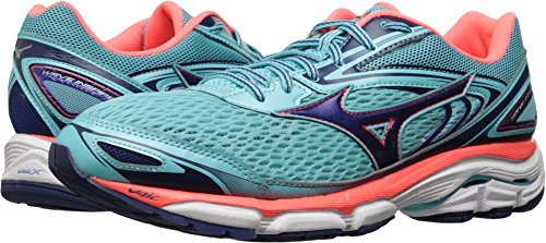 Mizuno Running Women's Wave Inspire 13 Shoes, Blue Radiance/Blueprint/Fiery Coral, 7 B US (Blueprint Footwear)