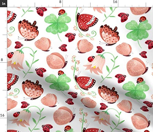 - Ladybird Fabric - Ladybug Butterfly Clover Nursery Kid Ladybird Butterfly Flower Ladybug Nursery by Gnoppoletta Printed on Fleece Fabric by The Yard