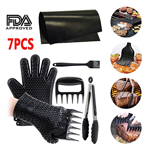 7 Pcs Pulled Pork Shredder Meat Claws Set BBQ Grill Cooking Gloves with Silicone Gloves,Bear Claws, Silicone Basting Brush, Non-stick BBQ Baking Mat and Kitchen Tong- For Indoor & Outdoor (K-mat Ultra Kitchen Mat)