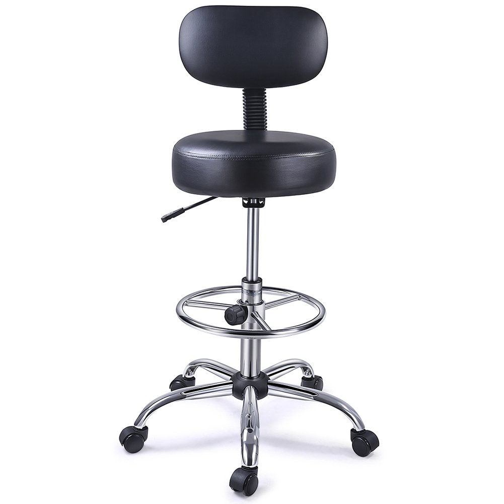 SUPERJARER Drafting Chair with Back, Adjustable Foot Rest Swivel Stool, Multi-Purpose Office Desk Chair, Thick Seat Cushion for Home Bar Kitchen Shop - Black