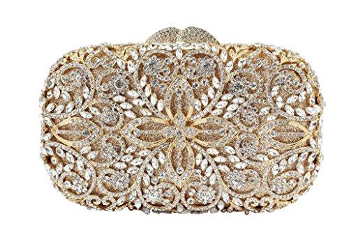 Yilongsheng Deslumbrantes piedras de cristal bolsos de las mujeres(oro blanco)