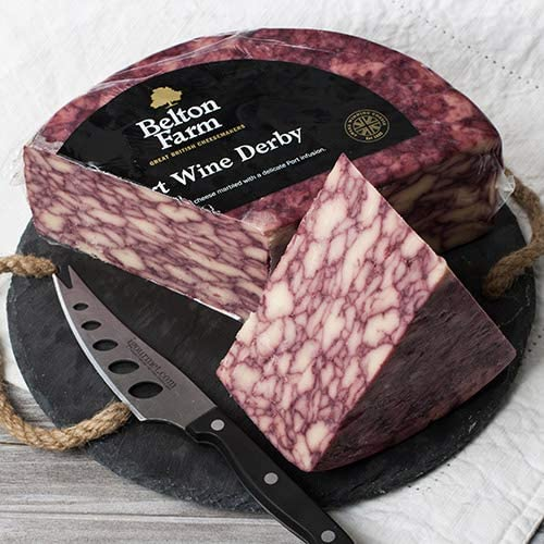 igourmet English Port Wine Derby Cheese by Belton Farm (7.5 ounce)