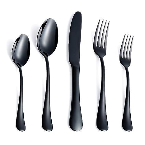 Amazon.com: Cubiertos Set Negro Utensilios de cubertería ...