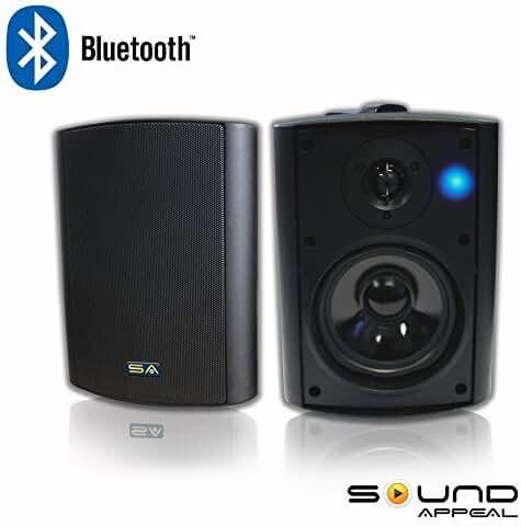 Bluetooth 5.25 Indoor/Outdoor Weatherproof Patio Speakers (Black- pair)