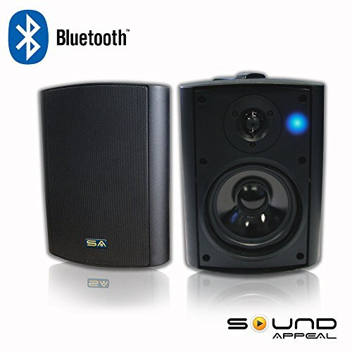 Bluetooth 5.25' Indoor/Outdoor Weatherproof Patio Speakers (Black- pair)- by Sound Appeal