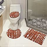 Industrial 3 Piece Toilet lid cover mat set Knot of Pipes Complex Design with Entangled Lines Hardware Industry Art Printed Rug Set Bronze and White
