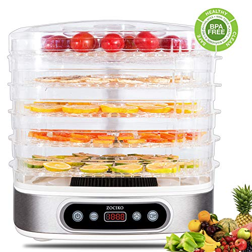 zociko Food Dehydrator Machine, Multi-Tier Food Preserver, Beef Jerky Maker with 5-Trays Adjustable Digital Temperature 95ºF to 158ºF/450 W, Dried Fruits, Vegetables & Nuts, BPA Free, Dishwasher Safe