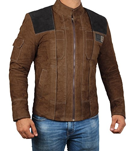 BlingSoul Solo A Star Wars Story Jacket - Brown Suede Han Solo Jacket Costume (Han Solo Light Brown Jacket, M)