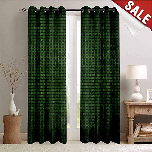 Forest Green, Blackout Draperies for Bedroom, Spotty Pattern with Symmetric Little Dots Modern Design with Futuristic Look, Thermal Insulating Blackout Curtain, W72 x L96 Inch Green Black