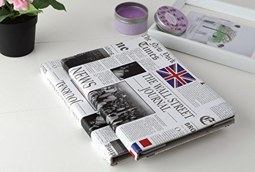 Apple New iPad Pro 9.7 Case 2016 Generation A1673 A1674 A1675, The Wall Street Journal Newspaper Magazine USA Flag & UK Flag Design Folio PU Leather Hard Case for Apple New iPad pro 9.7 inch 2016 ()
