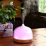 Aromatherapy Essential Oil Diffuser, EZOWare Essential Oil Portable Adjustable Ultrasonic Cool Mist Humidifier for Home Office Studio - 200ml, Wood Grain, 7 LED Color Changing