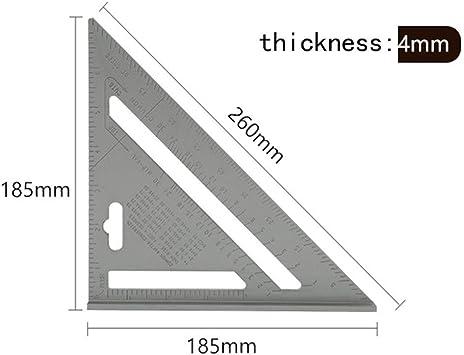 Cuadrados de regla de ángulo triangular Regla de medición triangular Carpintería de ángulos Transportador de ángulos Herramienta de medición de medidor de trasmallo ruler (Color : 7.5inch silver): Amazon.es: Bricolaje y herramientas
