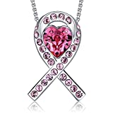 MEGA CREATIVE JEWELRY Breast Cancer Awareness Ribbon Pink Pendant Necklace Crystals from Swarovski