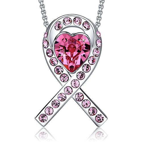 MEGA CREATIVE JEWELRY Breast Cancer Awareness Ribbon Pink Pendant Necklace Crystals from ()