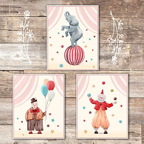 Circus Nursery Wall Art Prints (Set of 3) - Unframed - 8x10s