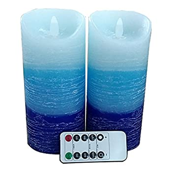 Adoria 7 inch Moving Wick Flameless Candles with Timer-Real Wax Tri-Layer Blue Rustic Remote Set of 2,Ocean Scented