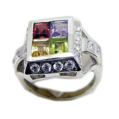 55Carat Real Peridot Citrine Amethyst Garnet Silver Ring for Women Square Shape Size 5,6,7,8,9,10,11,12