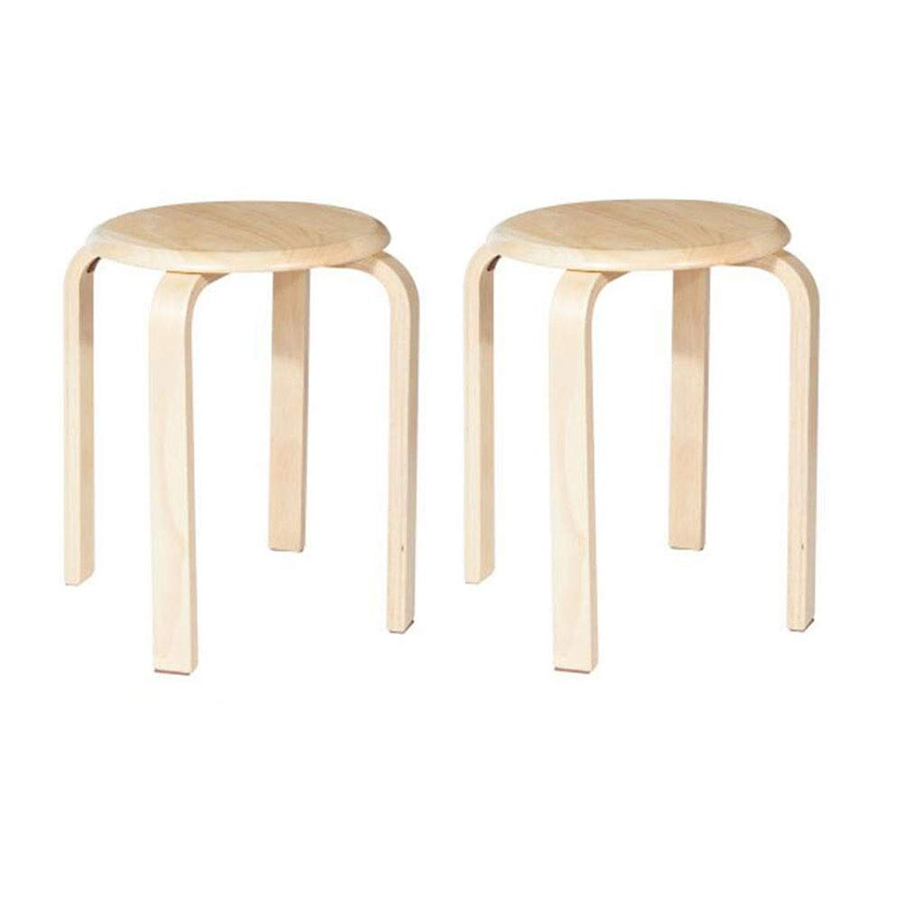 STAR-LIFE Round Stool Simple Solid Wood Dining Stool Wooden Bench Household Adult Curved Wooden Bench - Pack of 2 (Color : Wood Color)