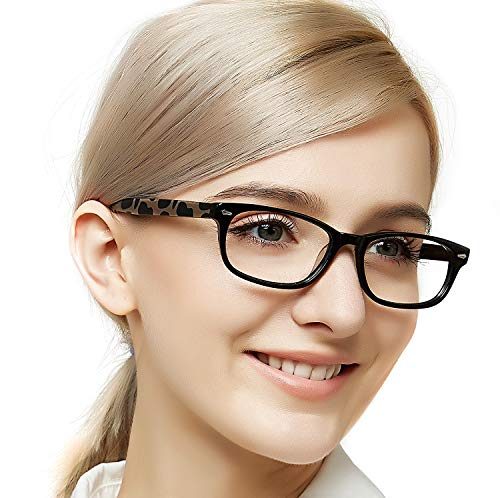 - OCCI CHIARI Women Fashion Colorful Eyewear Frames Non-prescription Eyeglasses With Clear Lenses(Black/Leopard Print,53)