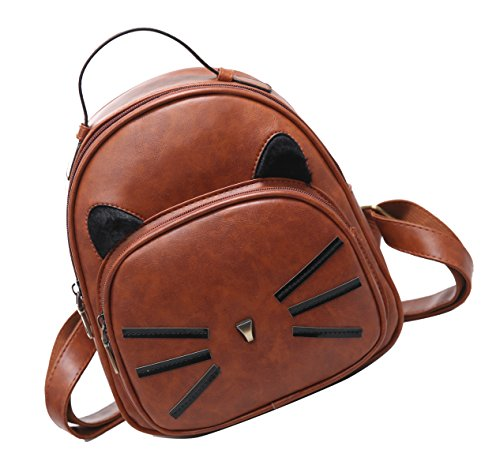 Basilion Retro Cat Cute Daily Field Trip Backpack Casual Mini Student Bag by Basilion