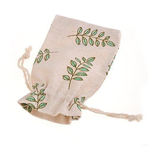 10 St. Geschenkbeutel rustikal Sackleinen mit Olivenblatt Muster für Weihnachtsgeschenk Hochzeit Geburtstag Geschenke
