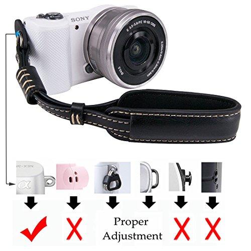 LXH Camera Wrist Strap Grip, PU Leather Mirrorless / DSLR Camera Hand Strap For Sony A6500 / A6300 / a6000 / RX100 V / RX100M III / RX100M4 / Fujifilm X30 X100F / X100S / X100T X-T20 XT10 X70 (Black)