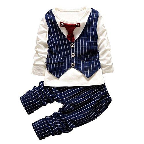[Babyanzug Junge] Gentleman 2 pcs Langarmshirt mit Weste + Hose Bekleidungsset Baby Kleinkind Kinderanzug Junge Anzug Kleikind Festlich Blau 100