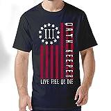 reynolds 3 - HFLOD PLODFC Three Percenter Oath Keeper American Flag Men's Classic Short-Sleeve Crewneck Cotton T-Shirt