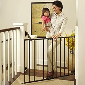"""North States 47.85"""" Easy Swing & Lock Baby Gate: Ideal for Standard or Wider stairways, Swings to self-Lock. Hardware Mount (mounts Included). Fits 28.68""""-47.85"""" Wide (31"""" Tall, Bronze) 82"""